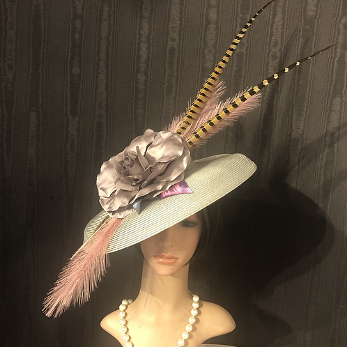 Silver straw  Bette Davis with pale lavender and pheasant