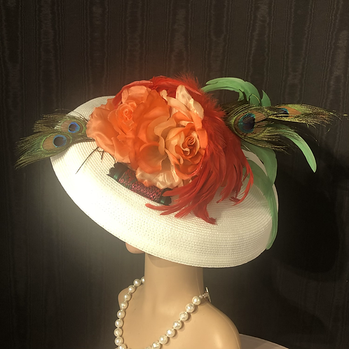 White straw Bette Davis with tangerine and peacock