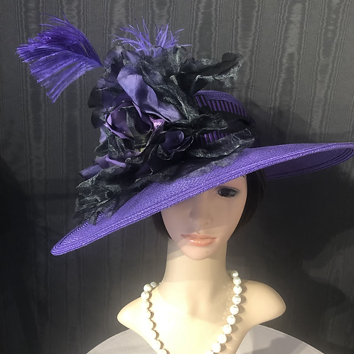 Royal purple Straw Bonnet with black