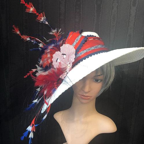 Fireworks White Straw Bonnet