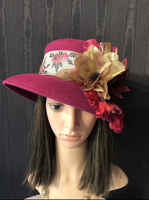 Fuchsia vintage felt mad hatter with iridescent roses