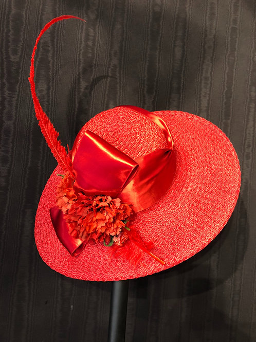 Red Braid Straw Bonnet