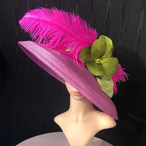 Fuschia pink straw Tiffany with lime