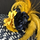 Thumbnail: Navy and white braided straw Tiffany with goldenrod yellow