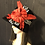 Thumbnail: Black fur felt square crowned cloche with red