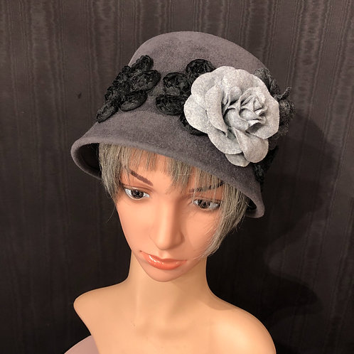 Dark Grey Felt Amelia with Black