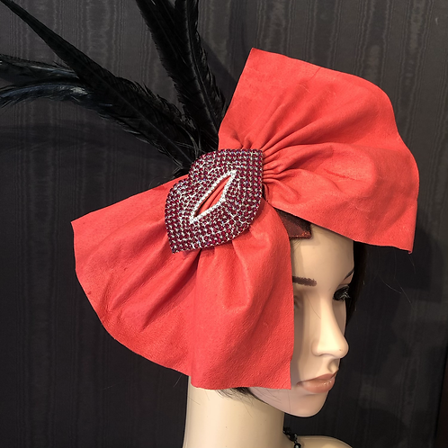 Red Leather and Hot Lips fascinator