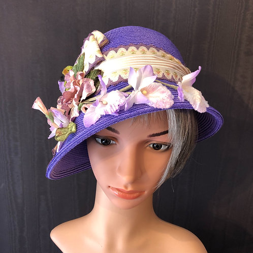 Purple Straw Cloche with French Floral