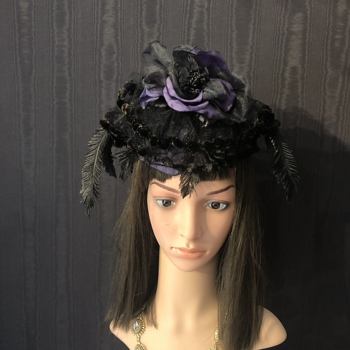 Purple and black spider Fascinator