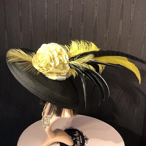 Black straw Tiffany with lemon yellow