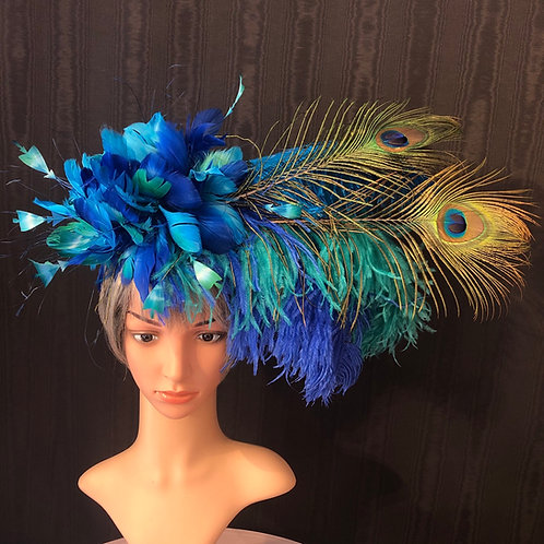 Peacock showgirl fascinator