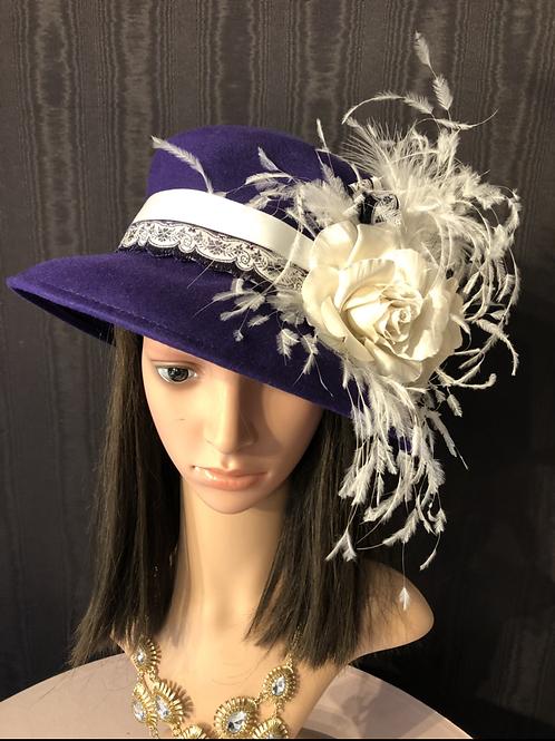 Amethyst purple vintage felt mad hatter