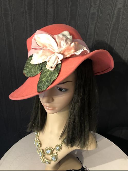 Peach Vintage Felt Ingrid Fedora with Velvet Iris