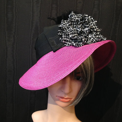 Fuchsia straw Ingrid with tweed rose