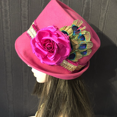 Hot pink vintage felt Trilby with sequins and peacock