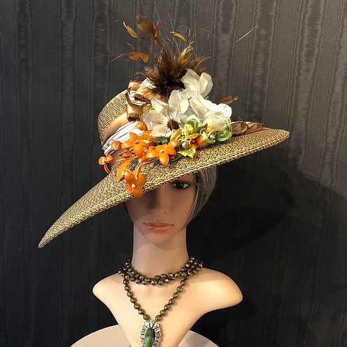 Rust and olive Rio straw Bonnet
