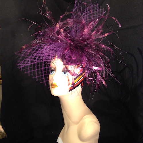 Purple Hand Painted Spider Feather Fascinator
