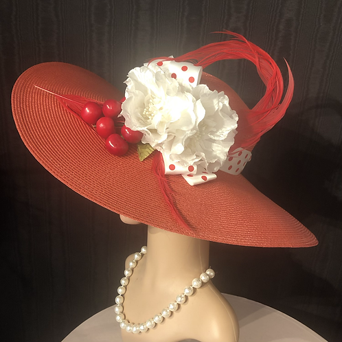 Red straw square crown 5 inch with polkadots and cherries