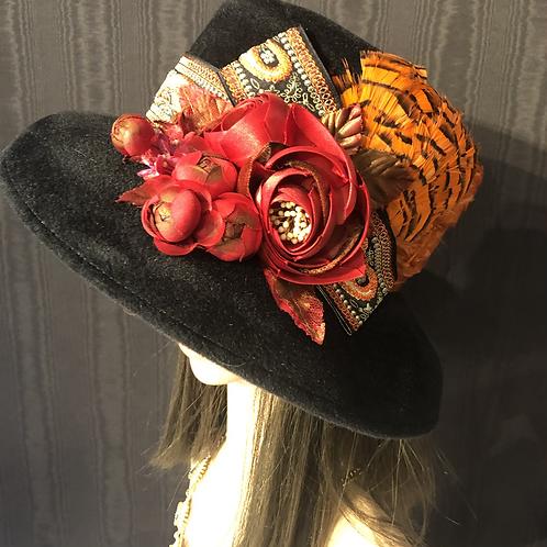 Black fur felt small Tiffany with red and orange vintage brocade