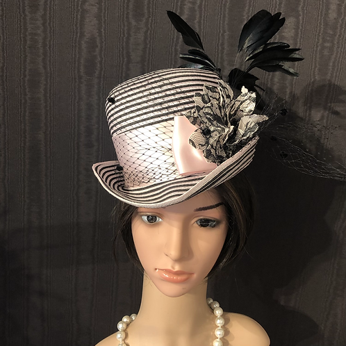 Pink and black striped straw riding hat