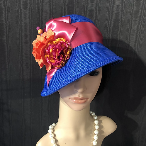 Cobalt straw cloche with fuschia and tangerine