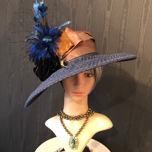 Navy braid straw Bonnet with pheasant