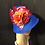 Thumbnail: Cobalt straw cloche with fuschia and tangerine