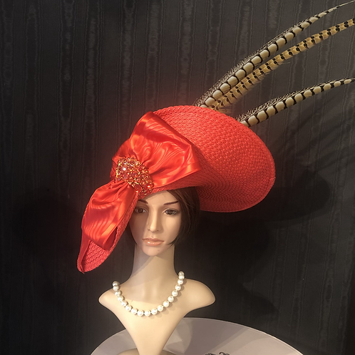 Ruby red braid straw Kimberly with crystals