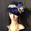 Thumbnail: Navy fur felt Amelia with brocade ribbon