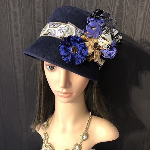 Navy fur felt Amelia with brocade ribbon