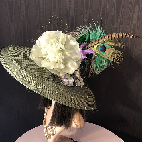 Olive green straw Tiffany with peacock