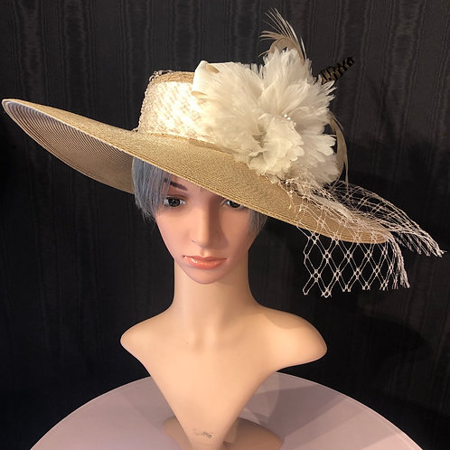 Toast straw boater with white