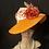 Thumbnail: Tangerine straw Ingrid with French ribbon