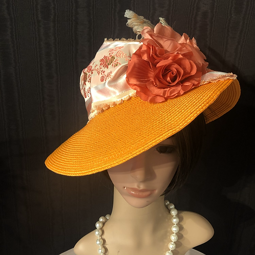 Tangerine straw Ingrid with French ribbon