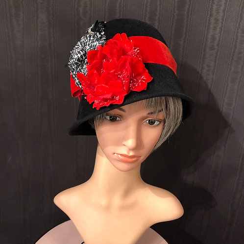 Black Felt Cloche with Red