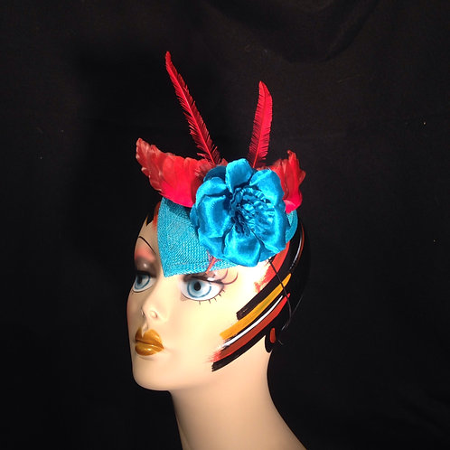 Teal Sinamay Fascinator with Red Bird