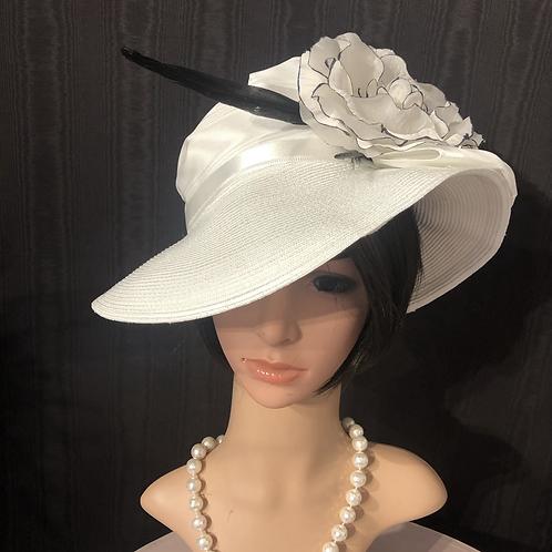 White straw Ingrid with black edged camellia