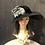 Thumbnail: Black felt bonnet with gray tweed roses