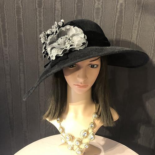 Black felt bonnet with gray tweed roses