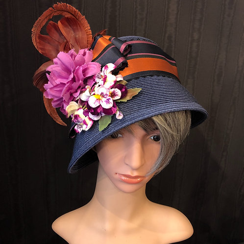 Navy Straw Cloche with Pansies