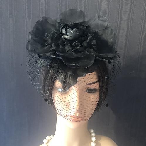 Black Dahlia veiled fascinator