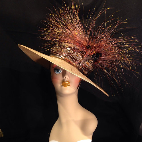 "Gold Straw 5""brim with Feather Explosion"