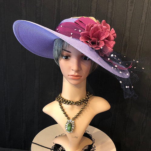 """Lavender straw 5"""" with chenille dot netting"""