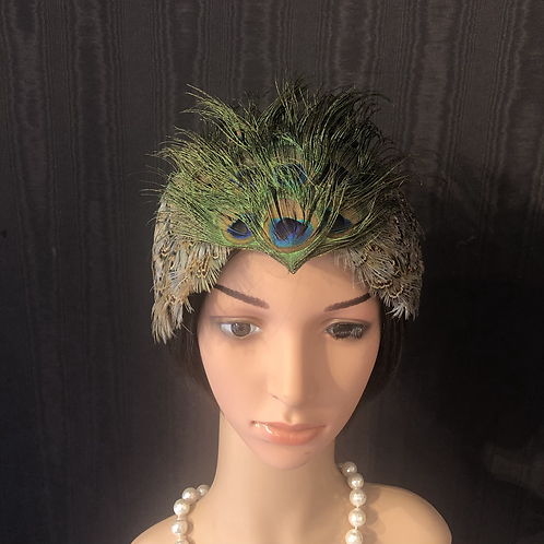 Peacock feather crown headband