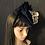 Thumbnail: Navy fur felt Scottie with silver snake ribbon