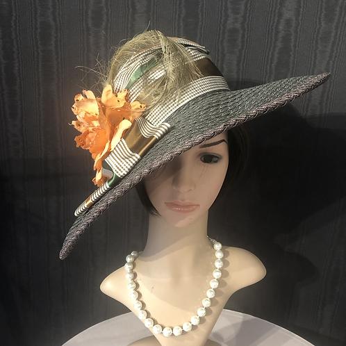 Chocolate braid Straw Bonnet with orange
