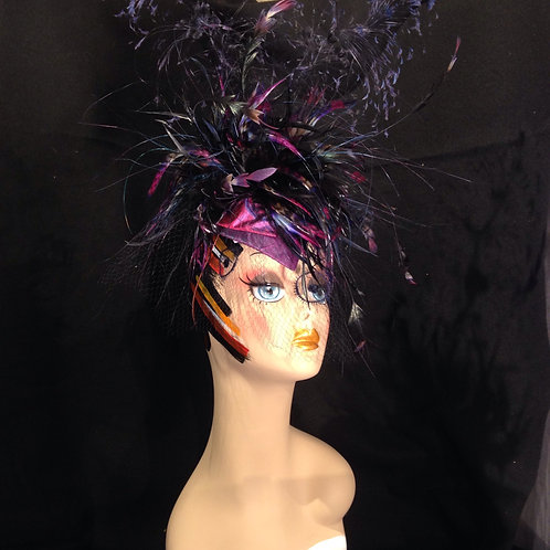 Purple Hand Painted Feather Explosion Fascinator