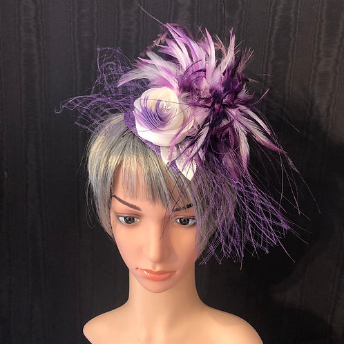 Purple rose fascinator
