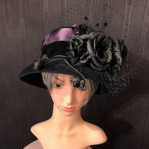 Black Felt Mad Hatter with Purple