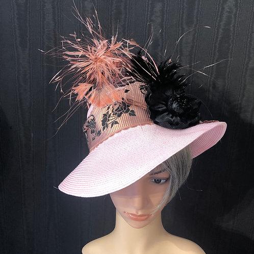 Pale pink straw Ingrid with black